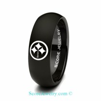 Black Tungsten Band Ring Mens Womens Ring Nfl Football Pittsburgh