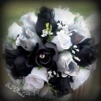 Black White Silver Roses Bridal Bouquet Bridesmaid By Silkbridals