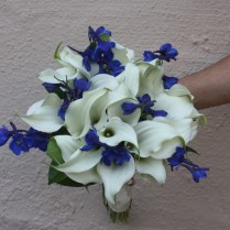 Blue And White Calla Lily Wedding Bouquet