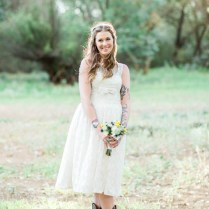 Bride Wearing Redesigned One Of A Kind French Lace Wedding Dress