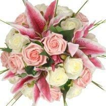 Brides Pink Silk Stargazer Lily & Ivory Rose Wedding Bouquet
