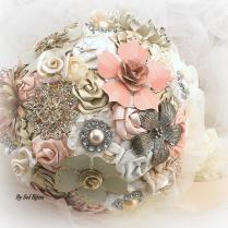 Brooch Bouquet, Ivory, Cream, Blush, Peach, Coral, Champagne