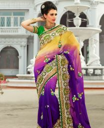 Buy Gleaming Bluish Purple & Cream Wedding Saree [adf26619] At $157 69