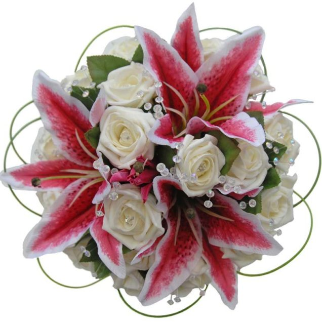 Cascading Jewel Bridal Bouquet With Stargazer Lilies, Hot Pink