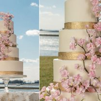 Cherry Blossom Wedding Cake With Gold Fondant Bands Commissioned