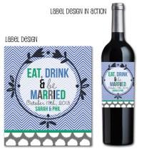 Chevron Wedding Wine Label, Custom Wedding Favors