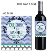 Chevron Wedding Wine Label, Custom Wedding Favors