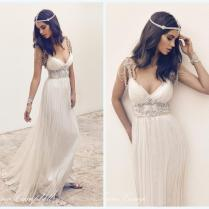 Custom Anna Campbell Vintage Beach Wedding Dresses Deep V Neck