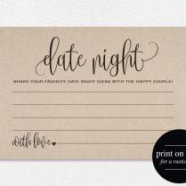 Date Night Cards, Date Night Ideas, Date Jar, Wedding Advice Card