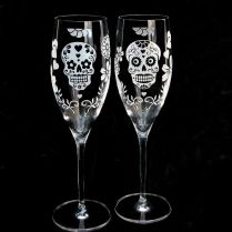Day Of The Dead Wedding Cake Server Set And Champagne Flutes, Dia