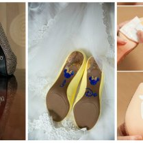 Different Designs And Decals At Bottom Of Bridal Wedding Shoes