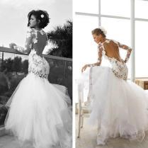 Dreamlike Flower Wedding Dresses Crew Mermaid Sheer Long Sleeve