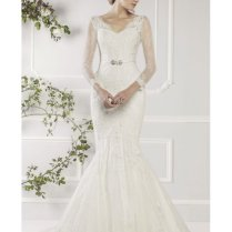 Ellis Bridals 11412a Fish Tail Lace Wedding Dress With Sleeves Ivory