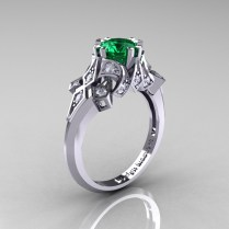 Emerald Wedding Ring On Wedding Ring With Engagement