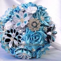 Fabric Wedding Bouquet, Brooch Bouquet Breath Blue, Gray