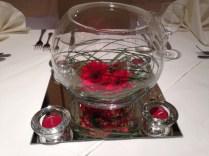 Flower Arragement Fish Bowl Vase Wedding Table Decor Ideas Beige