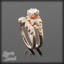 Flower Engagement Rings, Moissanite And Lotus Flowers On Emasscraft Org