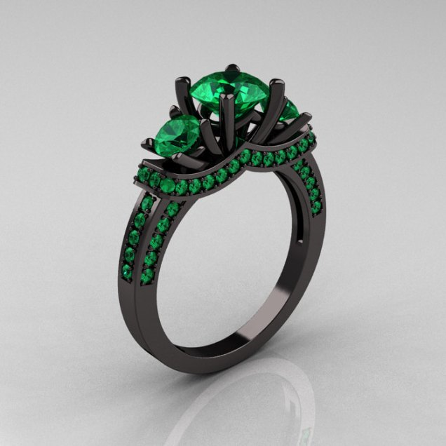French 14k Black Gold Three Stone Emerald Wedding Ring Engagement