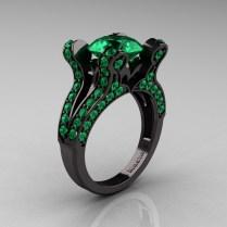French Vintage 14k Black Gold 3 0 Ct Emerald Pisces Wedding Ring