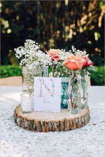 Gallery Rustic Baby's Breath And Roses In Lace Covered Mason Jar