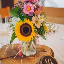 Gallery Rustic Sunflowers And Wood Wedding Centerpiece