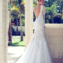 Gallery Sexy Open Back Lace Wedding Dress With Long Sleeves