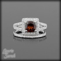 Garnet And Diamond Engagement Ring And Wedding Set — • Laurie