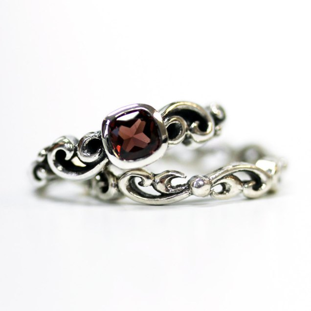 Garnet Engagement Ring Set Unique Silver Swirl By Metalicious
