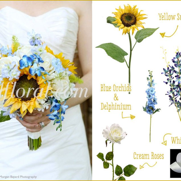 Glam Sunflower Wedding Bouquet Donna's Inspiration Board