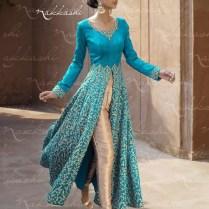 Gold And Turquoise Indian Wedding Wear Lehenga Style Anarkali Suit