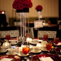 Gorgeous Centerpiece For Black, White, And Red Wedding