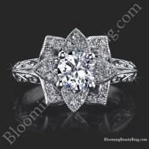 Hand Engraved 8 Petal 58 Ct Diamond Lotus Flower Ring – Bbr588