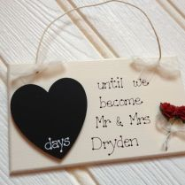 Handmade Countdown Chalkboard Personalised Wedding Plaque Gift