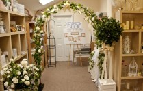 Hired Black Lovers Wedding Arch And Full Size Topiary Tree