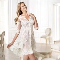 Informal Casual Modern High Low Short Sleeve Lace Wedding Dress