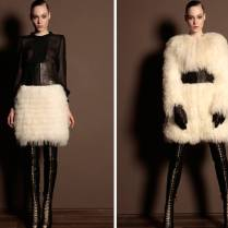 Ivory Feathers Against Black Leather