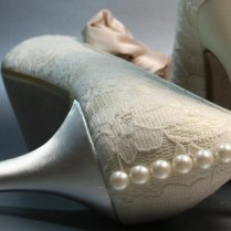 Ivory Lace And Satin Wedding Shoes With Pearl Accents