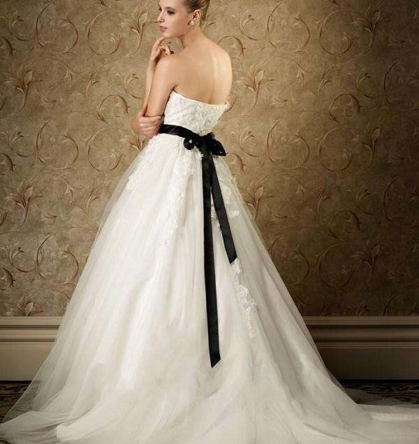 Ivory Wedding Dress With Black Sash