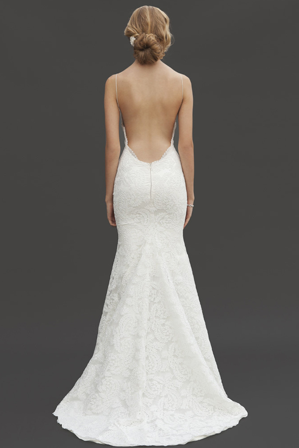 Lace Backless Spaghetti Straps Trumpet Wedding Dress Jswd0284