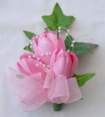 Ladies Pin On Corsage In Silk Pink Tulips & Loops Of Pearls