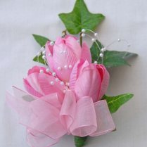 Ladies Pin On Corsage In Silk Pink Tulips & Loops Of Pearls