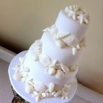 """Lauren"""" White On White Seashell Wedding Cake – Sandestin, Fl 30a"""