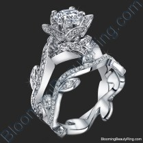 Lotus Ring With Leaves 1 22 Ctw Diamond Flower Engagement Ring