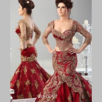 Luxury Two Pieces Red Wedding Dresses With Sheer Gold Beaded
