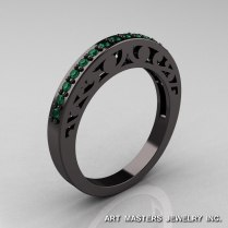 Modern Vintage 14k Black Gold 3 0 Carat Emerald Solitaire And