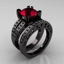 Modern Vintage 14k Black Gold 3 0 Ct Red Garnet Diamond Solitaire