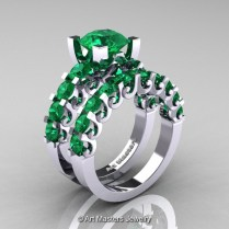 Modern Vintage 14k White Gold 3 0 Carat Emerald Designer Wedding
