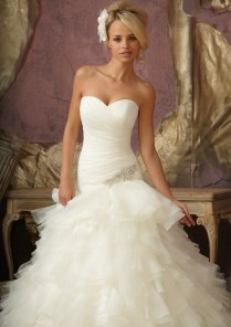 Mori Lee Bridal 1856 Organza Ruched Wedding Dress