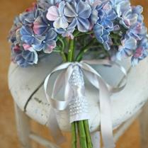 Natural Touch Periwinkle Blue Hydrangea Wedding Bouquet