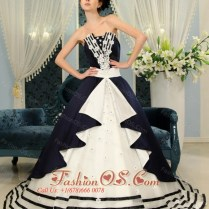 Navy Blue And White Ball Gown Strapless Court Train Wedding Dress